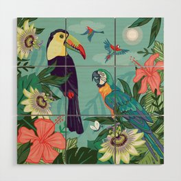 Toucan and Parrot Wood Wall Art