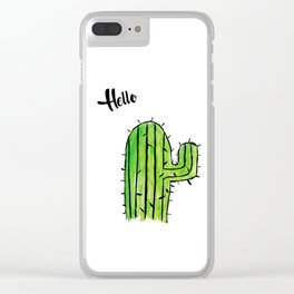 Hello Cactus Clear iPhone Case