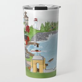 Louisbourg Illustrated in Color Travel Mug
