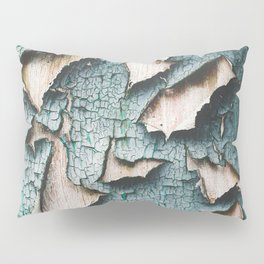 Rustic old light blue green peeling paint Pillow Sham