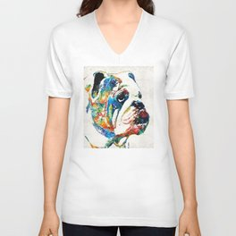 Bulldog Pop Art - How Bout A Kiss - By Sharon Cummings Unisex V-Neck