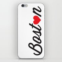 boston iPhone & iPod Skins featuring Boston by Julia Paige Designs