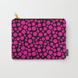 Black and pink polka dot pattern . Carry-All Pouch