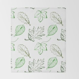 Leaves (greens) Throw Blanket