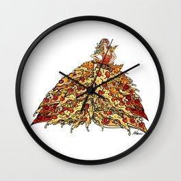 Pizza Peacock Mermaid Dress Wall Clock