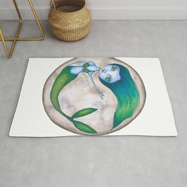 Mermaid in the full moon Rug