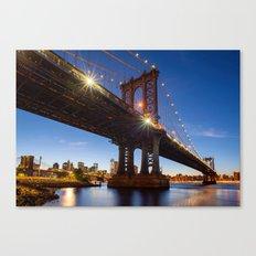 Manhattan Bridge Light night Canvas Print