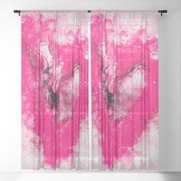 pink flamingo love couple splatter watercolor Sheer Curtain