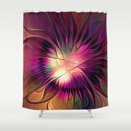 Flowering Fantasy, Abstract Fractal Art Shower Curtain