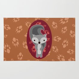 Squirrel with Paw Prints Rug