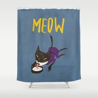 meow Shower Curtains featuring Meow by Sylwia Borkowska