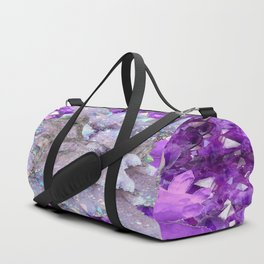 WHITE DRUZY QUARTZ & PURPLE AMETHYST CRYSTAL VIGNETTE Duffle Bag