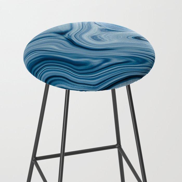 Splash of Blue Swirls, Digital Fluid Art Graphic Design Bar Stool