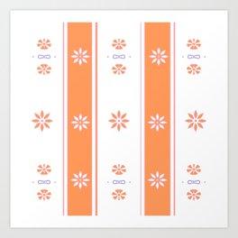 Orange and White Stripe Flower Pattern Art Print