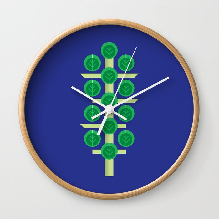 Vegetable: Brussels Sprout Blue Wall Clock