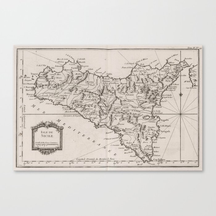 photograph about Printable Map of Sicily identify Basic Map of Sicily Italy (1764) Canvas Print by means of bravuramedia