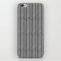 herringbone iPhone & iPod Skins featuring Herringbone Black by Project M