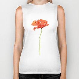 Red Poppy Flower Watercolor Biker Tank