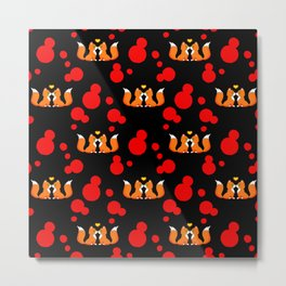 Cute lovely little foxes in love and bold red retro dots seamless pattern design. Hello November. Metal Print