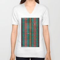 blanket V-neck T-shirts featuring Geo Blanket by Emily Anne Thomas