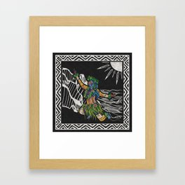 Polynesian Hula Dancer Tapa Print Framed Art Print