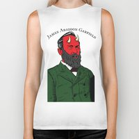 garfield Biker Tanks featuring James Abaddon Garfield by @DrunkSatanRobot