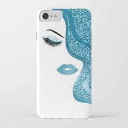 Blue glitte woman iPhone Case