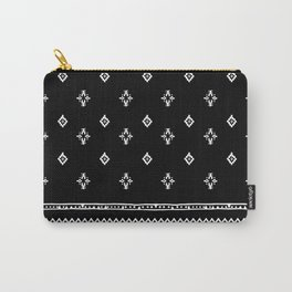 Rhombus & Lines White on Black Carry-All Pouch