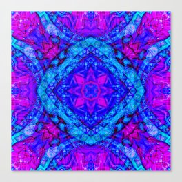 Psychedelic Star Pattern Pink Blue Canvas Print