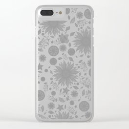 Beautiful Flowers in Faded Gray Black and White Vintage Floral Design Clear iPhone Case