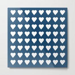 64 Hearts Navy Metal Print