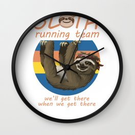 Sloth Running Gift for Jogger or Cross Country Runner Print Wall Clock
