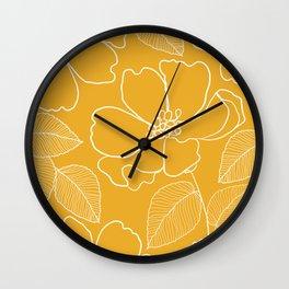 Wild rosa - yellow Wall Clock