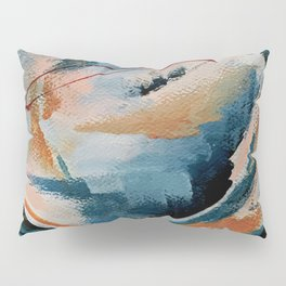 Drift 6: a bold mixed media piece in blues, brown, pink and red Pillow Sham