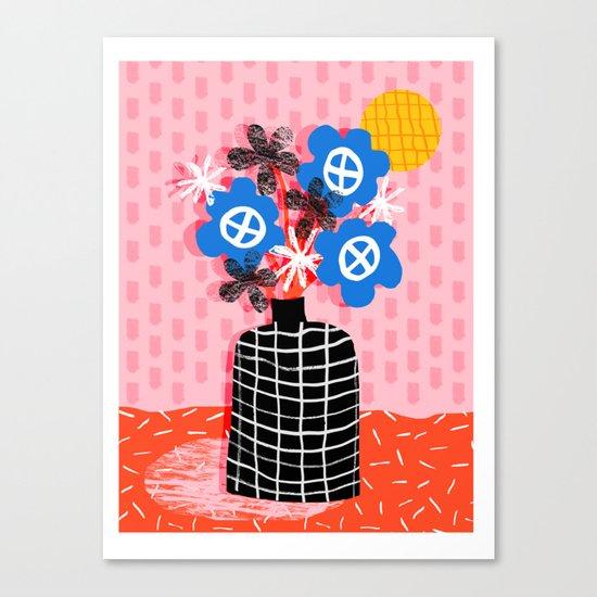 Works for Me - throwback retro memphis still life floral vase flowers grid pattern Canvas Print