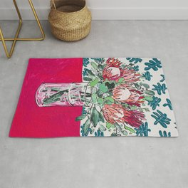 Bouquet of Proteas with Matisse Cutout Wallpaper Rug