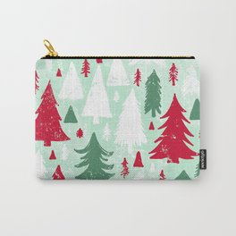 Mint, Red & Green Pine Trees Carry-All Pouch