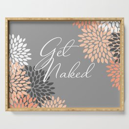 Get Naked Floral Bloom, Coral Gray Serving Tray
