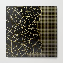 Ab Outline Grid Black and Gold Metal Print