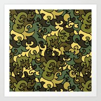 military Art Prints featuring Military pattern. by Julia Badeeva