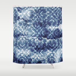 Indigo Batik Abstract Shower Curtain