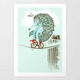 Ernie Echidna highwire extraordinaire  Art Print