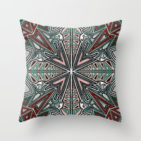 grafitti Throw Pillows featuring Tribal Grafitti 4 Symmetrical design by Yezarck