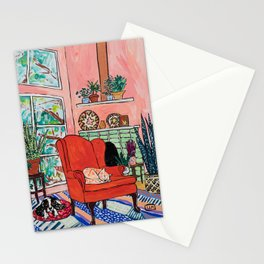 Red Armchair in Pink Interior with Houseplants, Ginger Cat, and Spaniel Interior Painting Stationery Cards