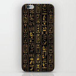 Egyptian Ancient Gold hieroglyphs on black iPhone Skin