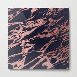Rose Gold Navy Blue Modern Chic Marble Pattern Metal Print
