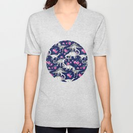 Dinosaurs and Roses on Dark Blue Purple Unisex V-Neck