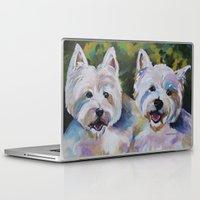 westie Laptop & iPad Skins featuring Westie Impressionism Pet Portrait Larsen 1 by Karren Garces Pet Art