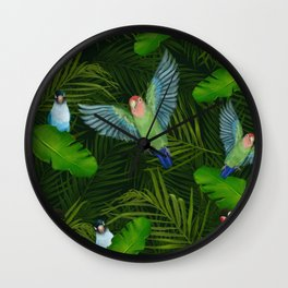 Lovebirds and tropical leafs Wall Clock