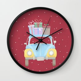 Vitange Car with Christmas Gifts on the roof Wall Clock